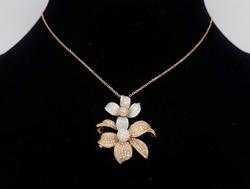 Two Tone Rose and White Gold Diamond Flower Necklace