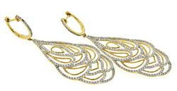 Glamorous Diamond Swirl Earrings, 14k