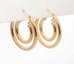 Double Hoop Gold Earrings