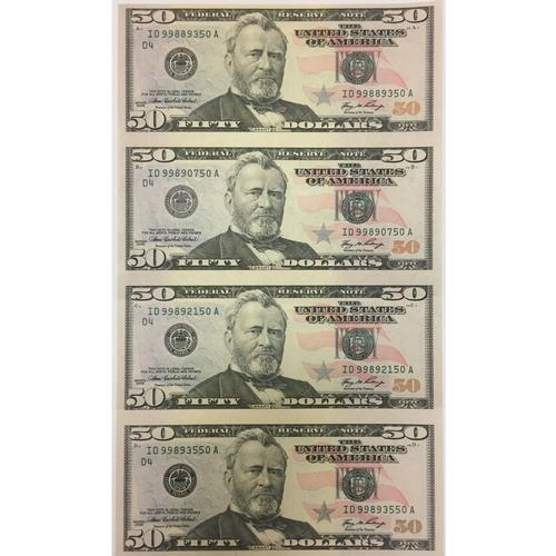 Uncut Currency Sheet 4 x $50 2006 UNC