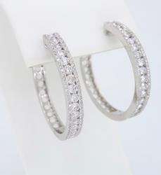 18K White Gold 2.16ctw Diamond Hoop Earrings