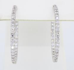 18K White Gold Inside Out Oval Diamond Hoops
