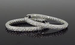 Amazing 2.5 CTW Diamond Hoop Earrings In 18K