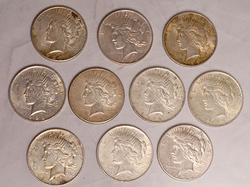 10 US Silver Peace Dollars