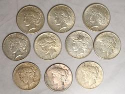 10 Silver US Peace Dollars