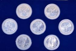 First 7 American Silver Eagles, BU in Case