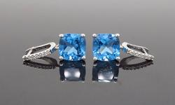Blue Topaz and Diamond Earrings, 14K