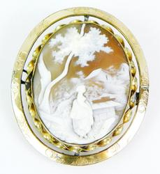 Large Ornate Scenic Cameo with Mourning Locket