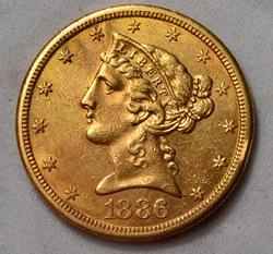 1886 S $ 5 US Gold Liberty