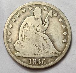1846 Tall Date Seated Half