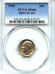 Rare 1968 DDO 10c, PCGS MS66, FS-101