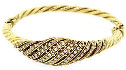 Very Glamorous Diamond Swirl Bangle Bracelet in 18K