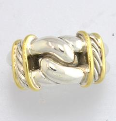 David Yurman Sterling Curb Link Ring with 18kt Accents