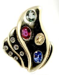 Four Colors of Sapphires 14K Ring