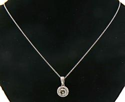 Most Beautiful Diamond Halo Pendant Necklace in 18K