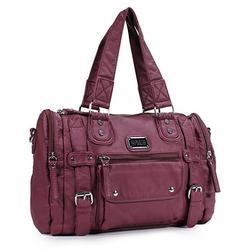 Ultra Soft Vegan Leather Barrel Shoulder Handbag
