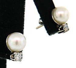 Elegant Simplicity: Pearl and Diamond Earrings