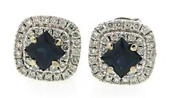 Sohpisticated Sapphire & Diamond Halo Earrings in 18K