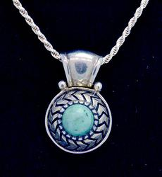 Stabilized Turquoise Pendant in sterling w chain