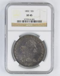1802 Flowing Hair Silver Dollar - NGC XF45