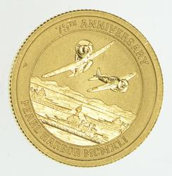 2016 Tuvalu $15.00 1/10 Oz Gold 9999 75th Anniversary Pearl Harbor - Unc
