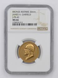 MS66 Bronze Restrike 26mm James A Garfield Coin - NGC Graded