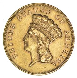 1864 $3 Gold Indian Princess - Circulated Lightly