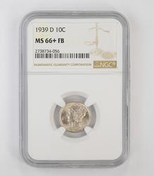 MS66+ FB 1939-D Mercury Dime - NGC Graded