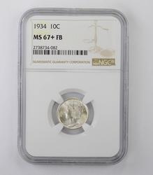 MS67+ FB 1934 Mercury Dime - NGC Graded