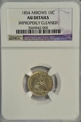 Nice 1854 w/ Arrows Liberty Seated Dime. NGC AU Details