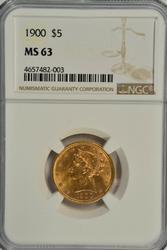 Very Choice BU 1900 $5 Liberty Gold Piece. NGC MS63