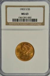 Great Choice BU 1903-S $5 Liberty Gold Piece. NGC MS63