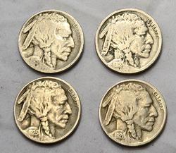 1915 1918 S 1925 S and 1926 D Buffalo Nickels