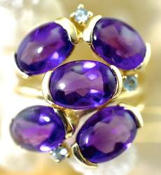 Exciting 14K Amethyst Cluster Ring