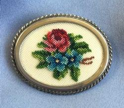 Fine 'Needlepoint' Flowers, Handcrafted 'Petit Point' Pin Brooch