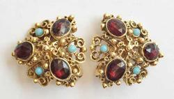 Fashionable 'Florenza' Faceted Ruby Red Crystal, Turquoise Bead, Earrings