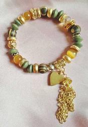 Fabulous, Beaded, Stretch Bracelet With 'Heart' Charm & Tassel