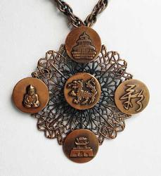 Large, 5 Asian Tokens, Copper Medallion Pin / Pendant Necklace