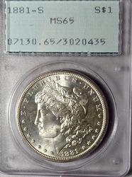 1881 S Morgan Dollar in Rattler  MS 65 PCGS holder