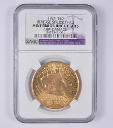 Mint Error 1924 $20.00 St Gaudens Gold Double Eagle - NGC Graded