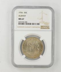 MS67 1936 Albany Commemorative Half Dollar - NGC Graded