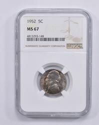 MS67 1952 Jefferson Nickel - NGC Graded