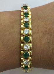 Heavy 18kt Solid Gold Emerald Bracelet, 32+Grams