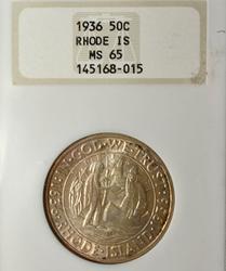 1936 MS 65 Rhode Island Comm Half in an NGC holder