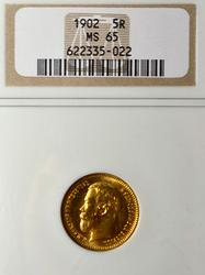 1902 MS 65 Russian 5 Rubles NGC Holdered
