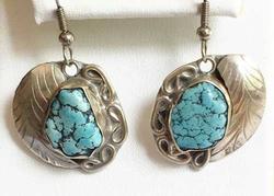 Southwest Leaf Designed, Turquoise Gemstone & Sterling Earrings