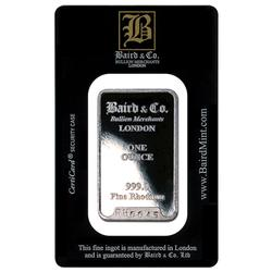 Baird Mint One Ounce Rhodium Bar