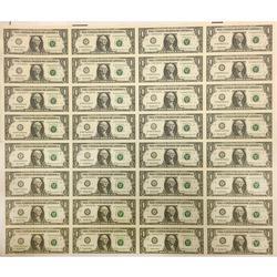 Uncut Currency Sheet 32 x $1 1999 UNC