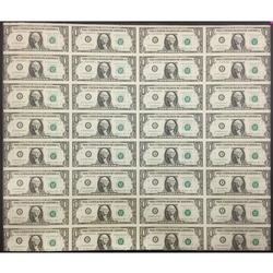 Uncut Currency Sheet 32 x $1 1981 UNC