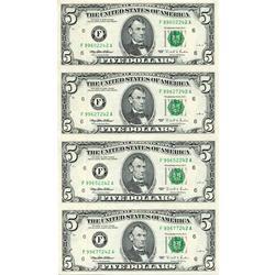 Uncut Currency Sheet 4 x $5 1995 UNC